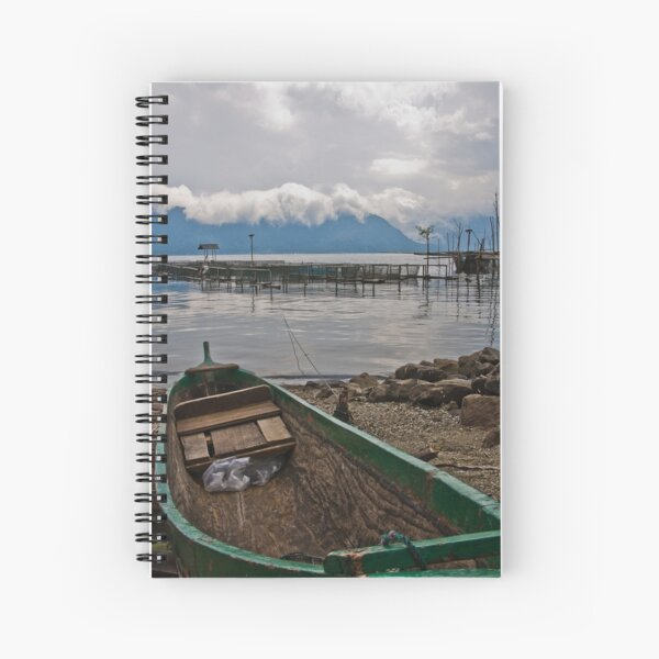 Green boat - Lake Maninjau, Sumatra, Indonesia Spiral Notebook