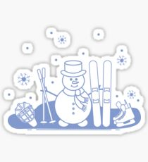 Snowman with ski and hockey equipment. Sticker