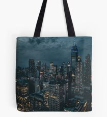 New York at Night United States Empire State Building Gotham City Tote Bag