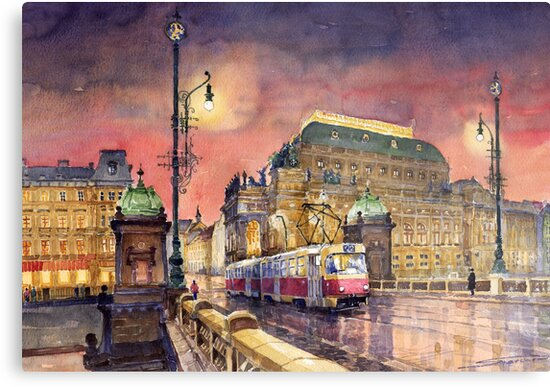 Prague  Night Tram National Theatre by Yuriy Shevchuk