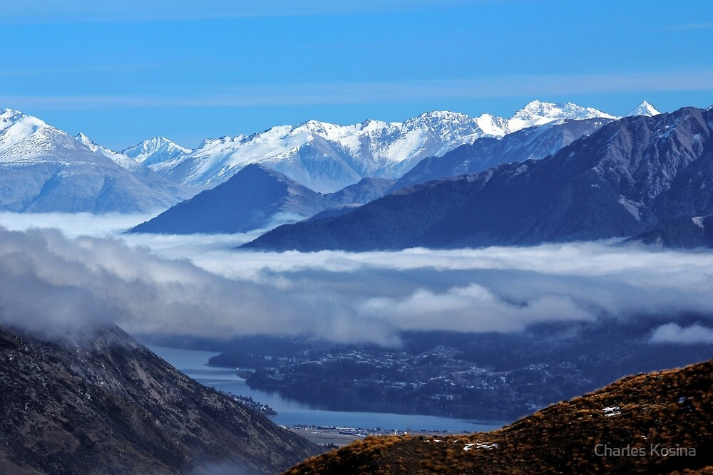 Queenstown from Crown Range Road by Charles Kosina