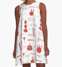 Scientific pattern. Chemistry, biology, medicine. A-Line Dress