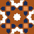 Moroccan Mural terracotta, clay and indigo  by Robyn Hammond