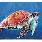 Schildkröte, die solo im Ozean schwimmt von WhileIWonder