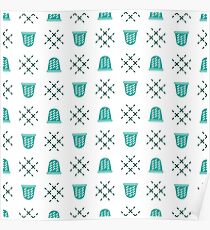 Seamless pattern with thimbles. Sewing, needlework Poster