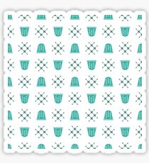 Seamless pattern with thimbles. Sewing, needlework Sticker
