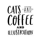 Cats and coffee and Illustration in black by jazzydevil