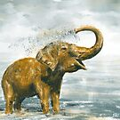Loose Painting of a Baby Elephant Taking a Shower by ibadishi