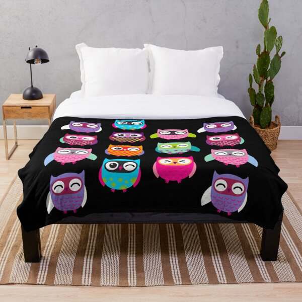 Cute Colorful Owls Throw Blanket