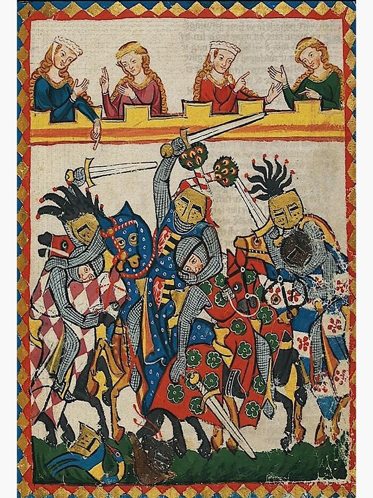 Medieval art depicting a Tournament Battle by edsimoneit