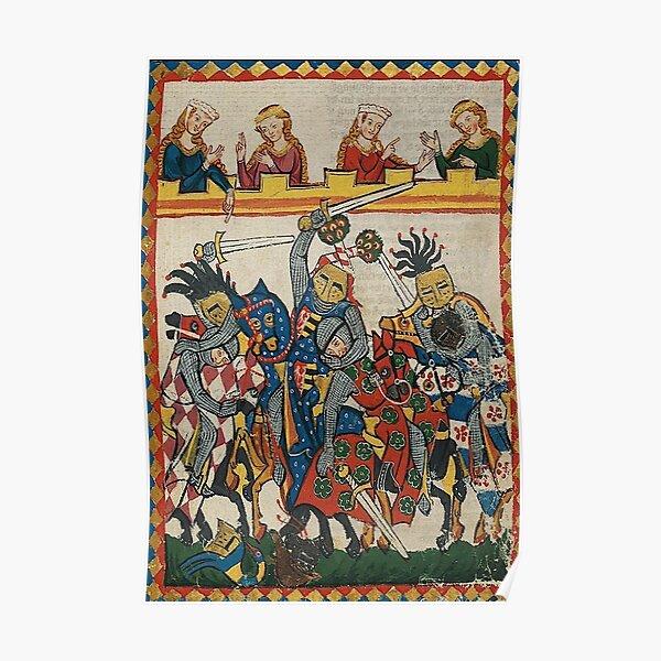 Medieval art depicting a Tournament Battle Poster