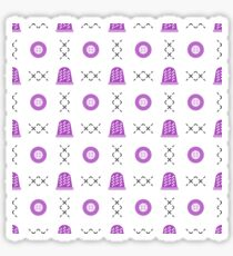 Seamless pattern with thimbles and buttons. Sewing Sticker