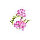 Rosa Freesia-Aquarell-Illustration von WhileIWonder