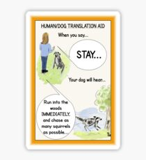 "Funny Dog Cartoon/Humour Illustration: ""Dog Translation"" Sticker"