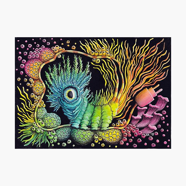 Unplug, Caterpillar, Psychedelic Art Photographic Print