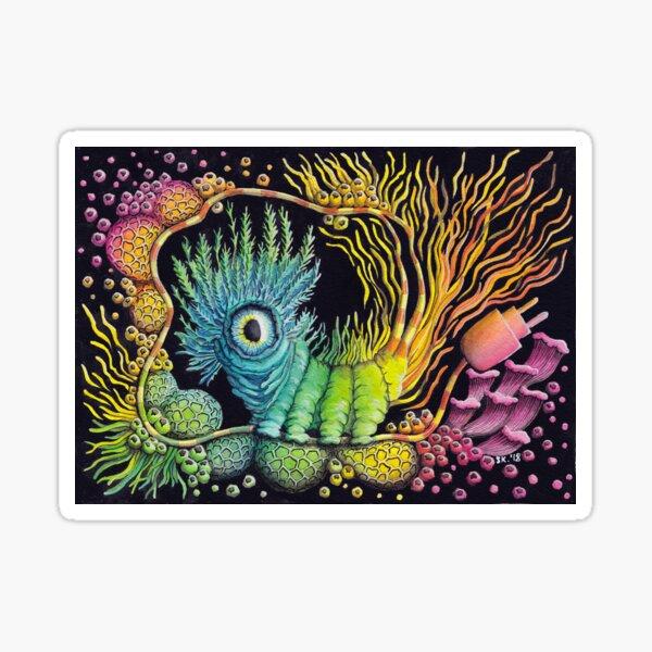 Unplug, Caterpillar, Psychedelic Art Sticker