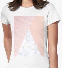Elegant rose gold glitter & marble  Women's Fitted T-Shirt