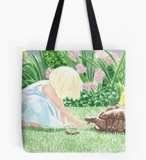 Girl and tortoise in the garden/ sweet innocent childlike beauty. Tote Bag