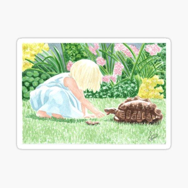 A  cute little Girl and a pet tortoise in the garden/ family custom art Sticker