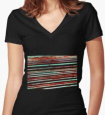 Metalic Stripes 1 Women's Fitted V-Neck T-Shirt