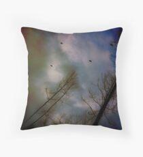 Flight o' Wild Turkeys Throw Pillow