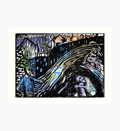After Kandinsky - Woodblock Print Art Print