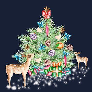 christmas deer, gifts,  snowy, christmas tree, night by ArtOlB