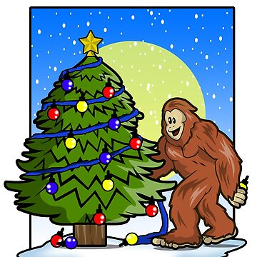 Big Foot Sasquatch Monster Christmas Tree Funny Shirt  by Ducky1000