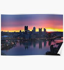 Pittsburgh Skyline at Dawn Poster