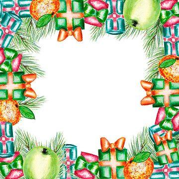 Christmas  gifts, Christmas tree, apples, toys, pine, fir, tangerines by ArtOlB