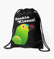 Beakie Kisses Blue Front Amazon Parrot Cute  Drawstring Bag