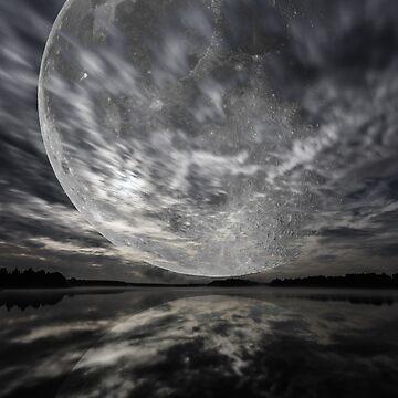 Mystery landscape, big full moon over dark lake by LukeSzczepanski