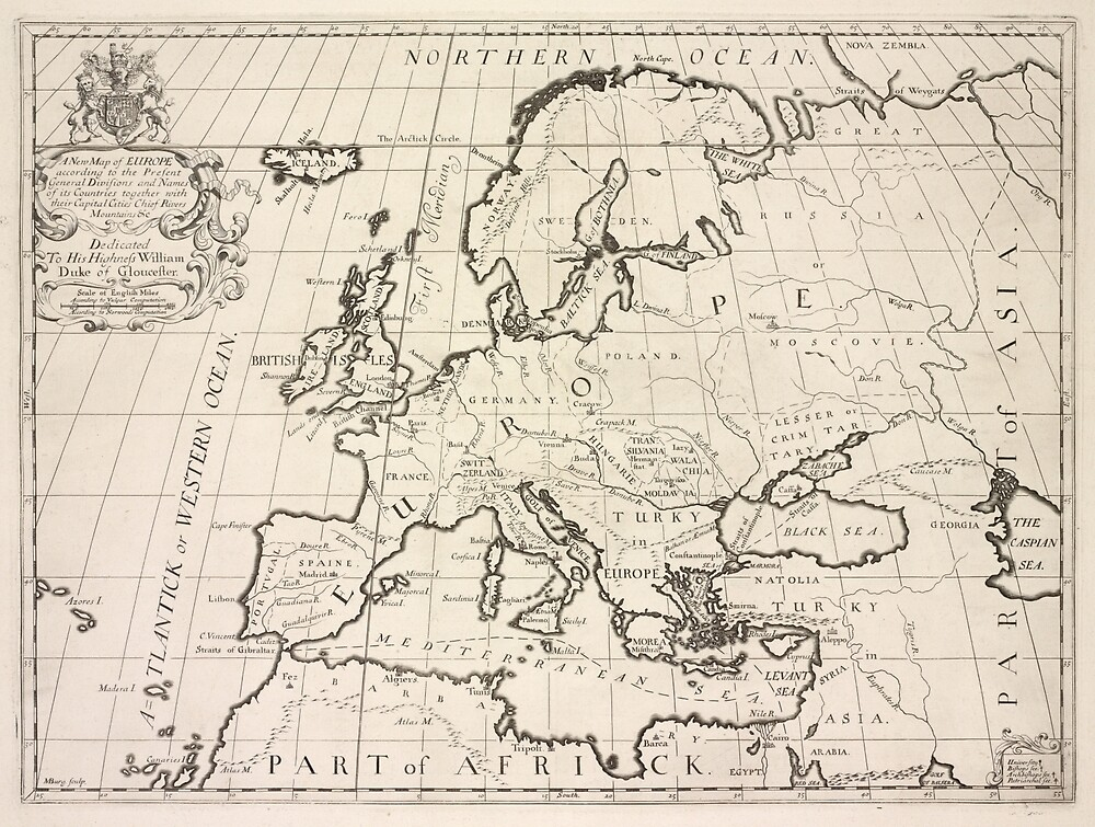 Vintage Map Of Europe 1700 By Bravuramedia Redbubble