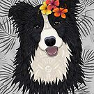 Happy Border Collie with Flowers by artlovepassion