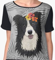 Happy Border Collie with Flowers Chiffon Top