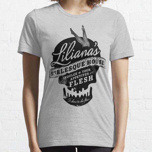 Diseño del cráneo de la casa burlesca de Liliana. Camiseta esencial
