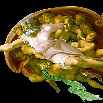 TOUCH OF GODS FINGER. The Creation of Adam by Michelangelo. On black by TOMSREDBUBBLE
