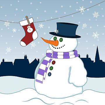 Snowman & Stocking Christmas Scene by NataliePaskell