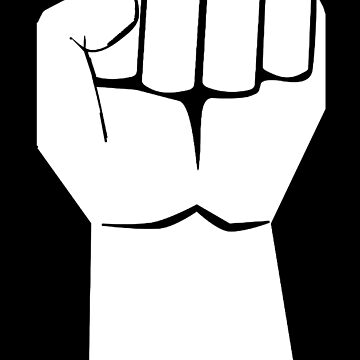 FIST, WHITE ON BLACK by TOMSREDBUBBLE
