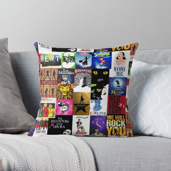 Musicals Collage III Throw Pillow