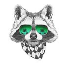 Hand drawn portrait of Raccoon with mirror sunglasses and scarf. Vector isolated elements. by features2018