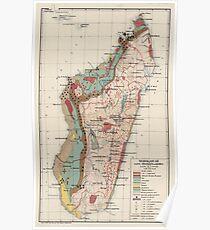 Geologische Vintage Karte von Madagaskar (1922) Poster
