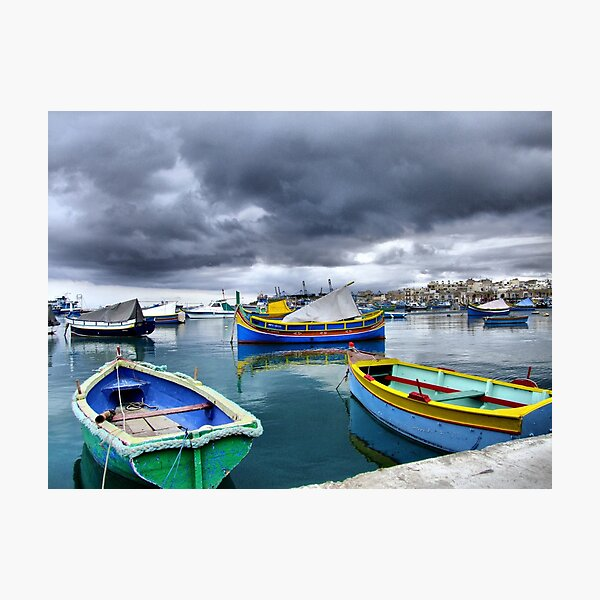 Marsaxlokk after rain Photographic Print
