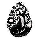 Sunshine Fox And Garden Flowers Linocut by BunnyThePainter