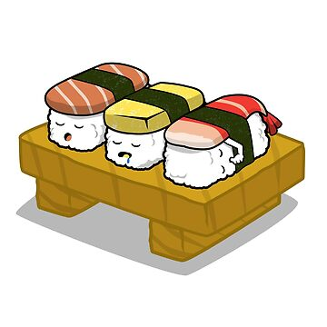 Sushi Food Funny Sleeping Design T-Shirt  by Ducky1000
