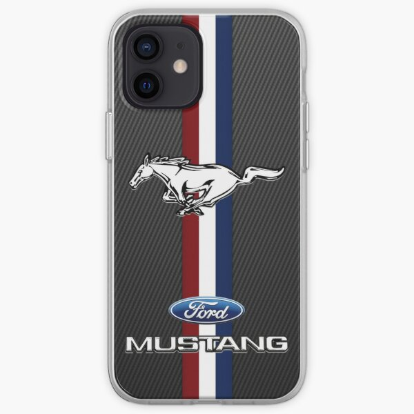 ford mustang noir carbone Coque souple iPhone