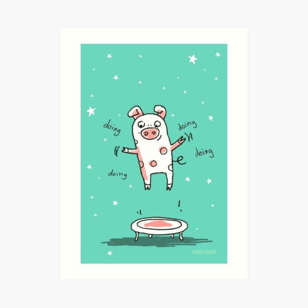 Glücksschweinchen Trampolin Workout Kunstdruck