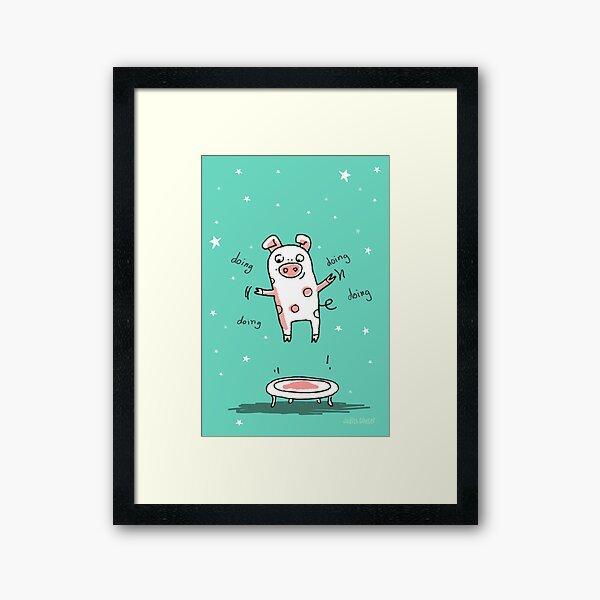 Glücksschweinchen Trampolin Workout Gerahmter Kunstdruck