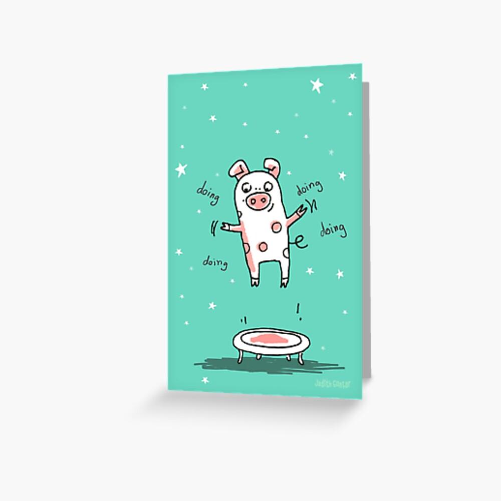 Glücksschweinchen Trampolin Workout Grußkarte