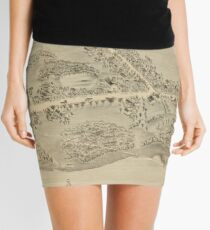 Vintage Pictorial Map of Madison CT (1881) Mini Skirt